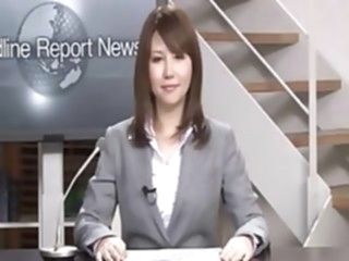 Real Japanese news reader two bukkake japanese public video
