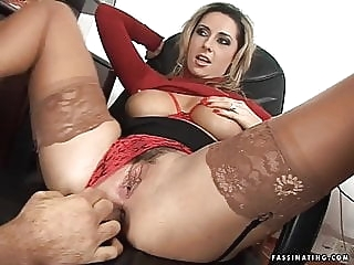 Secretary Mandy in red high heel sandals screws her boss anal facial milf video