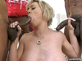 Hubby catches wife with three big black cocks blonde milf cuckold video