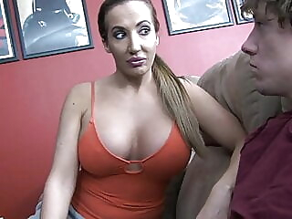 Stepmom helps son blowjob cumshot mature video