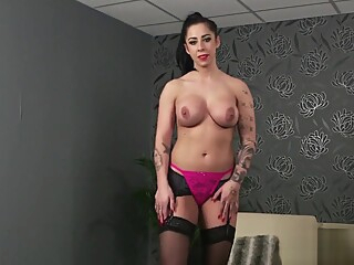 Feisty bombshell gets jizz load on her face swallowing all the sperm big tits brunette hd video