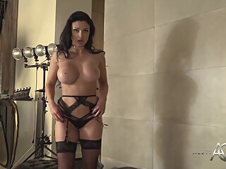 Cock loving milf with huge boobs, Aletta Ocean is posing in front of the webcam big ass big tits brunette video