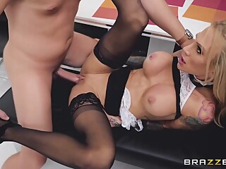 Tattooed blonde woman with big, firm tits, Sarah Jessie likes to experience an orgasm per day big tits blond cumshot video
