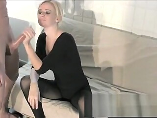 Sensual blonde with big tits Vanessa Vixon displays her handjob skills amateur big tits blonde video