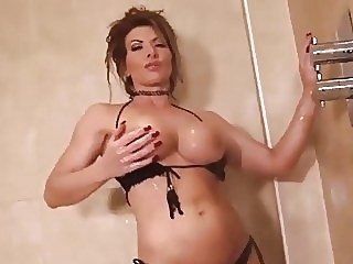 Lynda Leigh milf strip naked in shower and wanks her pussy big tits english hottie video