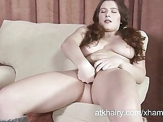 Lena Lake fingers her hairy pussy amateur brunette hairy video