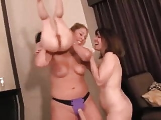 2 Chicks Fuck a Midget with a Strap-on nipples group sex midget video