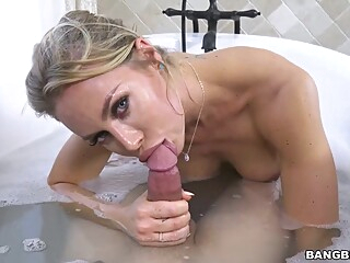 Big titted blonde woman, Nicole and her new lover are fucking in the bathroom, all day long big tits blond hairy video