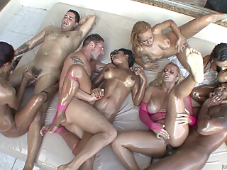 A very slippery orgy outside full of pornstars anal blond brunette video