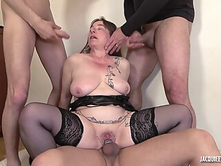 Mature wife is bored, so she wants a three stranger younger cocks anal big tits brunette video