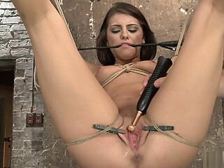 Brunette slave gets toyed in suspension bdsm bondage brunette video