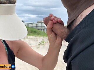 Very High Handjob Risk On Crowded Beach - Real Amateur amateur beach blonde video