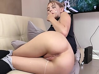 Step sister gets a creampie and facial while playing a game amateur blowjob cumshot video